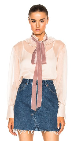 See By Chloe Tie Neck Blouse in powder - Self: 100% polyCollar Trim: 100% polyamide. Made in...