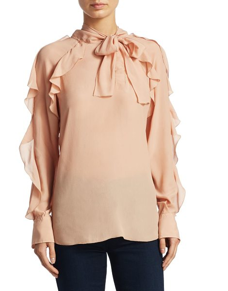See By Chloe tie neck ruffle blouse in pink - Chic blouse with ruffle details. High neck with...