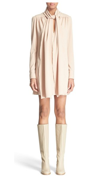See By Chloe tie neck crepe dress in nude - Generously cut from lightly textured stretch crepe, this...