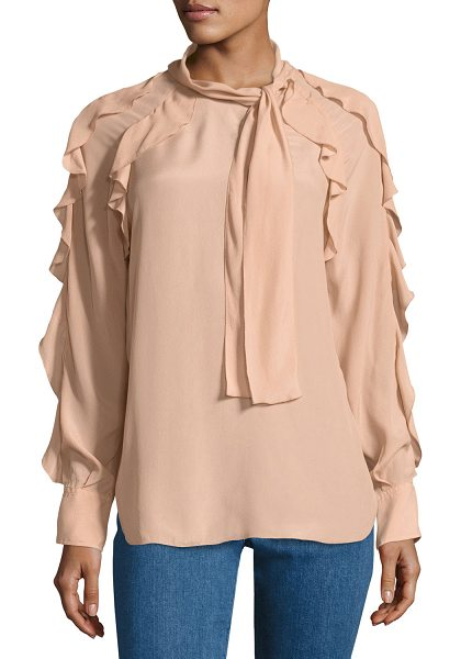 See By Chloe Tie-Neck Ruffled Silk-Blend Blouse in pink - See by Chloe blouse in silk-blend. Ruffled trim at neck...