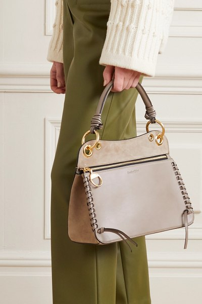 See By Chloe tilda whipstitched leather and suede shoulder bag in beige