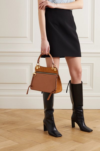 See By Chloe tilda whipstitched leather and suede shoulder bag in brown