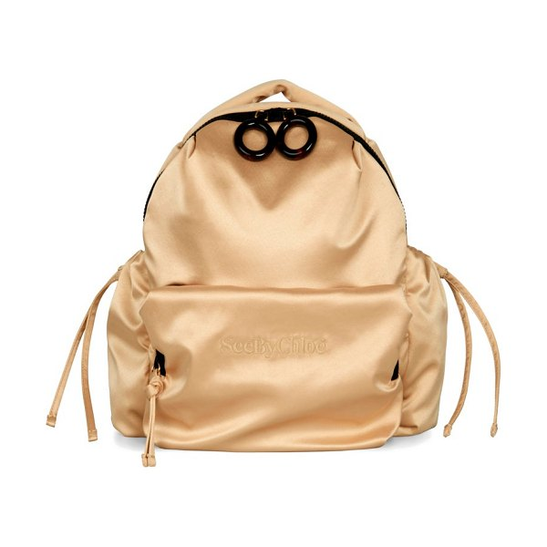 See By Chloe tilly logo-embroidered satin backpack in beige