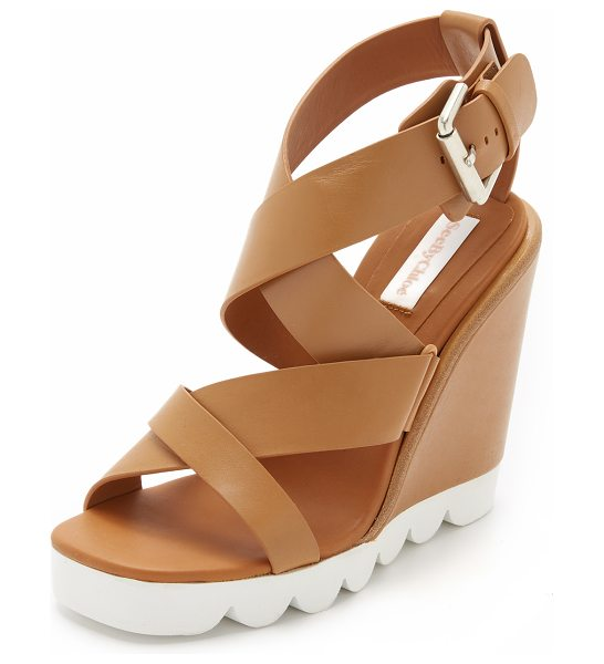 See By Chloe Tiny wedge sandals in tan - Smooth leather straps crisscross these See by Chloé...
