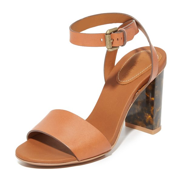 See By Chloe Tourtise sandals in luggage - A tortoiseshell heel adds a stylish detail to these rich...
