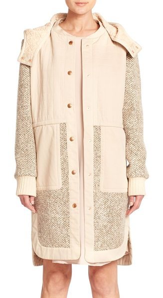 See By Chloe Tweed and quilted coat in mastic - Rich tweed and smooth quilting combine in this design...