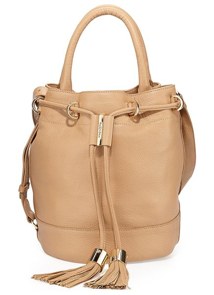 SEE BY CHLOE Vicki leather bucket bag in cappucino - See by Chloe leather bucket bag. Shiny golden hardware....