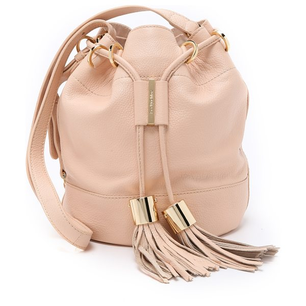 See By Chloe Vicki small bucket bag in nude - Tassels lend an eclectic look to this leather See by...