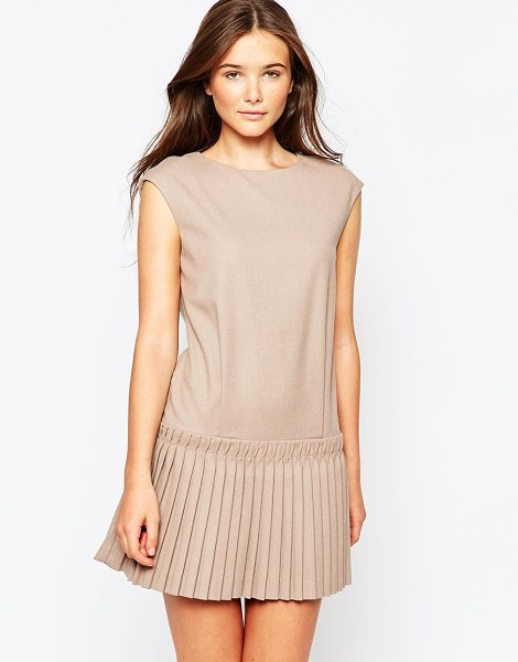 See U Soon Dress with drop waist pleated skirt in beige - Dress by See U Soon Soft-touch woven fabric Unlined...