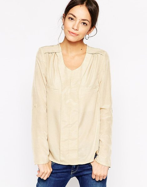See U Soon Shirt in mini triangle print in beige