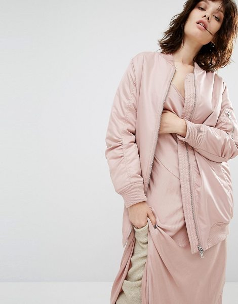 Seint Longline Bomber Jacket in pink - Bomber jacket by Seint, Lined woven fabric, Baseball...