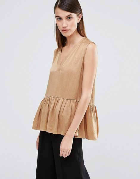 Selected Chari Peplum Top in tan - Top by Selected, Cupro-rich fabric, V-neckline, Peplum...