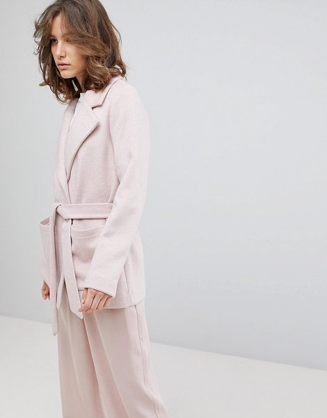 Selected femme cropped trench coat in sepiarose - Coat by Selected, Notch lapels, Open front, Belted...