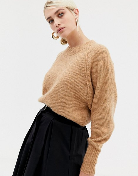 Selected femme deep cuff knitted sweater-tan in tan