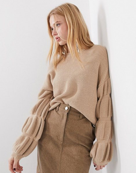 Selected femme knitted sweater with sleeve detail in camel-brown in brown