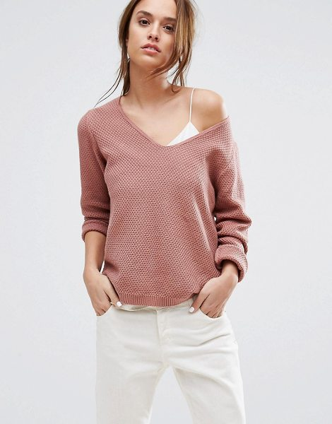 Selected Knitted Sweater in pink - Sweater by Selected, Textured knit, V-neck, Ribbed cuffs...