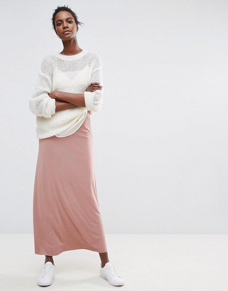 Selected Long Line Maxi in pink - Maxi skirt by Selected, Soft-touch woven fabric,...