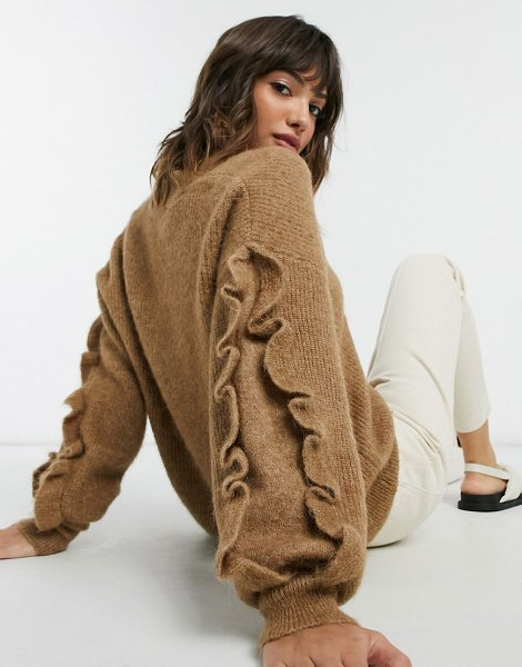 Selected femme v-neck sweater with ruffle sleeves in brown in brown