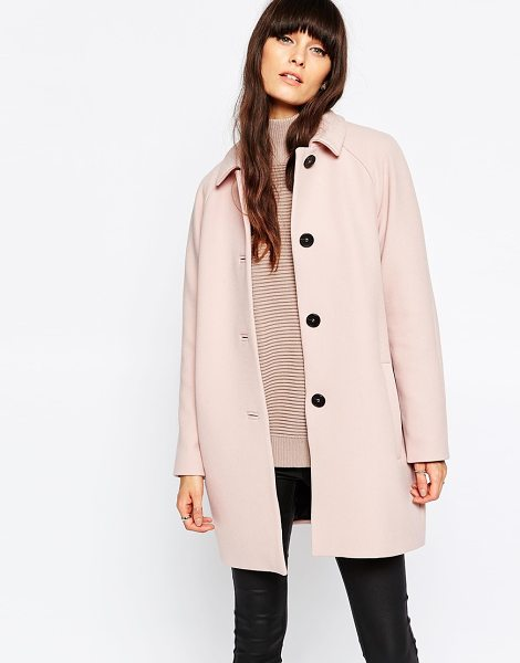 Selected Inva 60's Coat in pink - Coat by Selected, Heavyweight woven fabric, Point...