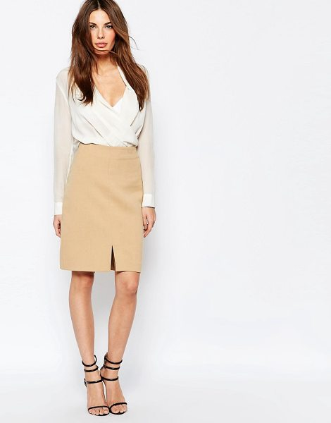 Selected Soma Pencil Skirt with Front Split in brown - Pencil skirt by Selected, Lined woven fabric, High-rise...