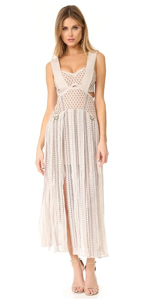 SELF-PORTRAIT avery midi dress in cream - NOTE: Runs small in bodice. Multiple slits lend breezy...