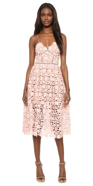 SELF-PORTRAIT Azalea dress in blush pink - A romantic Self Portrait dress in floral lace, styled...