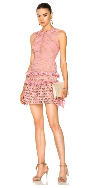 SELF-PORTRAIT Crosshatch Frill Mini Dress - Self & Lining: 100% poly. Made in China. Dry clean only....
