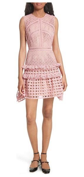 SELF-PORTRAIT crosshatch frill minidress - Delicate ladder-stitched insets frame the fitted bodice...