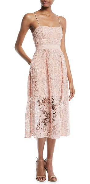 SELF-PORTRAIT Floral Lace Sleeveless Midi Cocktail Dress in pink - Self-Portrait cocktail dress in floral lace. Square...