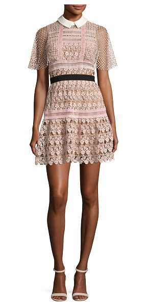 SELF-PORTRAIT Floral-Lace Vine Cape Mini Dress - Self-Portrait mini dress in floral guipure features...