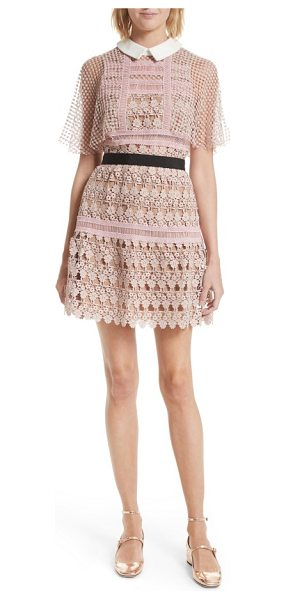 SELF-PORTRAIT floral vine cape minidress in blush - A fluttery mesh cape overlay and a prim point collar...