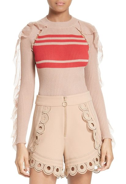 SELF-PORTRAIT frilled stripe sweater in nude - A Self-Portrait-style take on the classic crewneck...