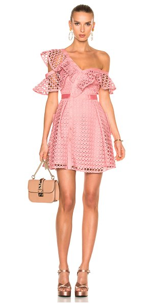 SELF-PORTRAIT Lace Frill Mini Dress in pink - Self & Lining: 100% poly - Contrast Fabric: 100% cotton....