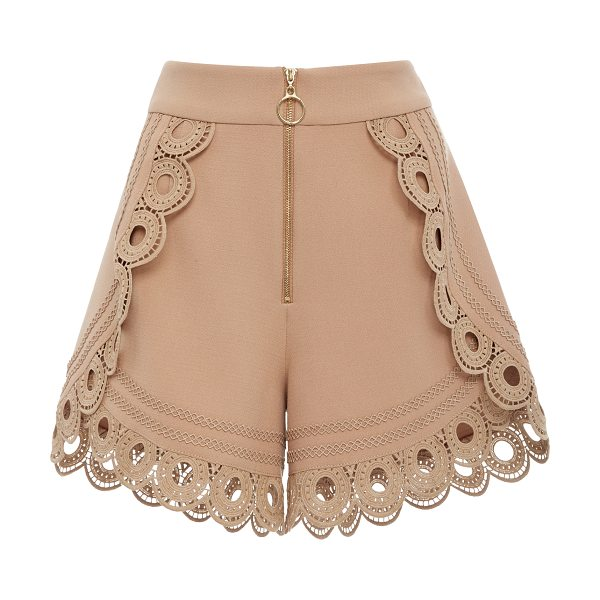 SELF-PORTRAIT Lace-Trimmed High-Rise Shorts in nude - Self Portrait's shorts are cut in a supremely flattering...