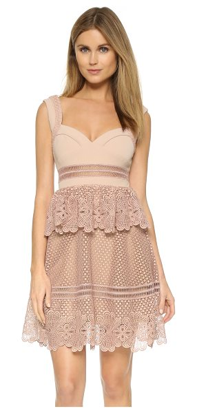 SELF-PORTRAIT Natalia tiered dress in blush/nude/camel - A ruffled overlay accents the waist of this charming...