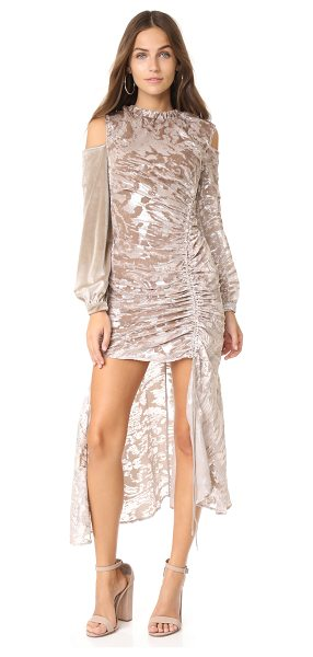 SELF-PORTRAIT open back devore dress in champagne grey - This tactile Self Portrait gown has a shimmering...
