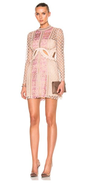 SELF-PORTRAIT Payne Cut Out Mini Dress - Self & Lining: 100% poly - Contrast Fabric: 74% poly 21%...
