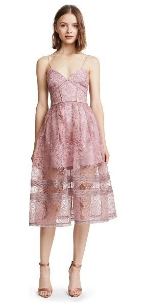 SELF-PORTRAIT regal rose midi dress in rose - Exclusive to Shopbop. A delicate lace overlay in pretty...