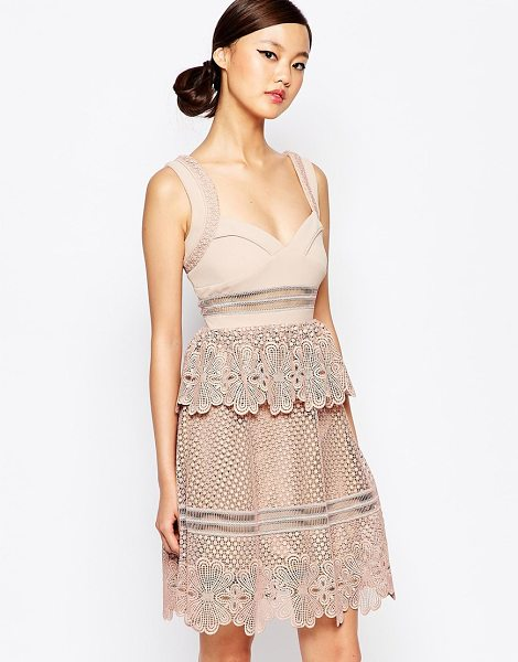 SELF-PORTRAIT Self Potrait Natalia Tiered Dress in pink - Dress by Self Portrait, Lined woven fabric, Lace...