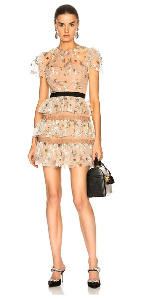 SELF-PORTRAIT Star Mesh Tiered Dress - 100% nylon.  Made in China.  Dry clean only.  Fully lined. ...