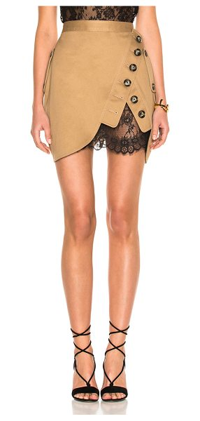 SELF-PORTRAIT Trench Mini Skirt in neutrals - Self: 100% cotton - Contrast Fabric: 100% polyamide. ...