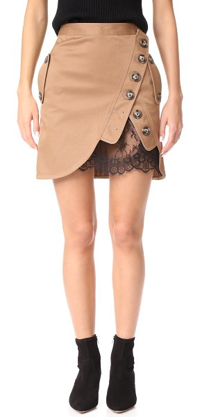 SELF-PORTRAIT utility miniskirt in beige - A crossover button panel at the front reveals a peek of...