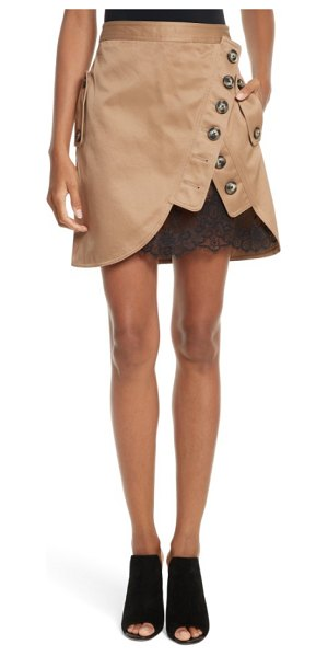 SELF-PORTRAIT utility miniskirt in beige - A ruffle of scalloped lace adds a bit of signature...