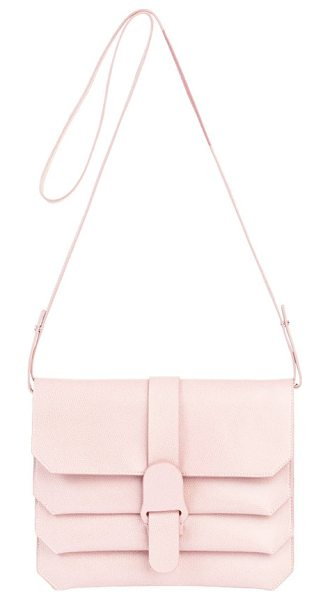 Senreve pebbled leather crossbody bag in blush - Compact yet roomy, this versatile crossbody bag crafted...