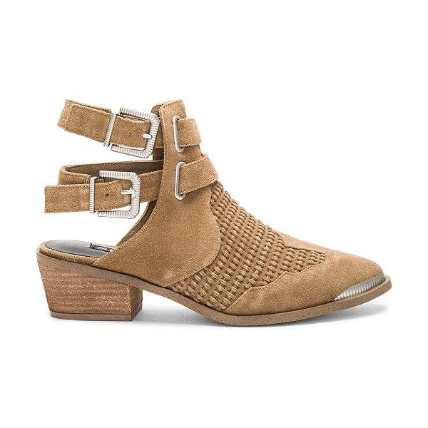 SENSO Barney Bootie in tan - Suede upper with man made sole. Etched ankle straps with...
