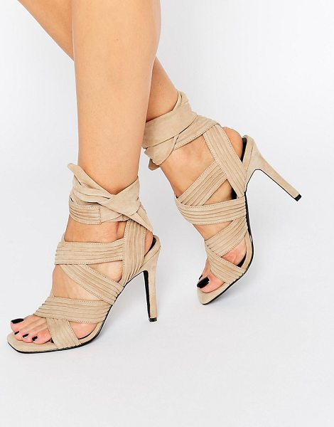 SENSO Samantha Sand Suede Bow Heeled Sandals - Sandals by Senso, Suede upper, Wrap design, Open-toe...