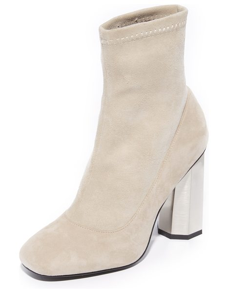 SENSO umar iv booties in sand - A gold-tone heel breaks up the minimalist silhouette of...