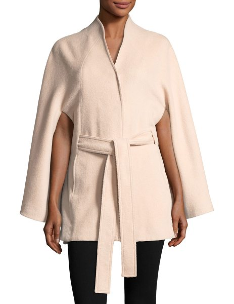 Sentaler Suri Alpaca Stand-Collar Button-Front Belted Cape in blush - SENTALER cape coat in Suri alpaca-blend. Stand collar....
