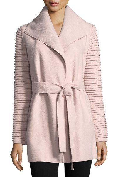 Sentaler Superfine Alpaca Wrap Coat w/ Ribbed Sleeves in rose dust - SENTALER wrap coat in superfine alpaca-blend. Shawl...