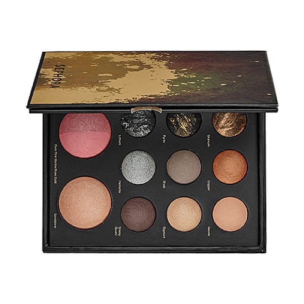 "SEPHORA COLLECTION mixed metals baked eye and face palette 4""w x 5 15/16""h x 3/4""d"